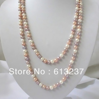 Multicolor freshwater cultured natural round pearls 7 8mm beads diy women necklace elegant gifts jewels 48 inch MY4536
