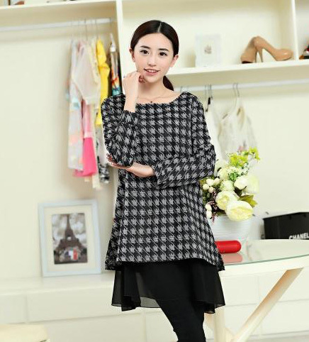 Plus size Houndstooth plaid Woolen maternity office dress clothes ...