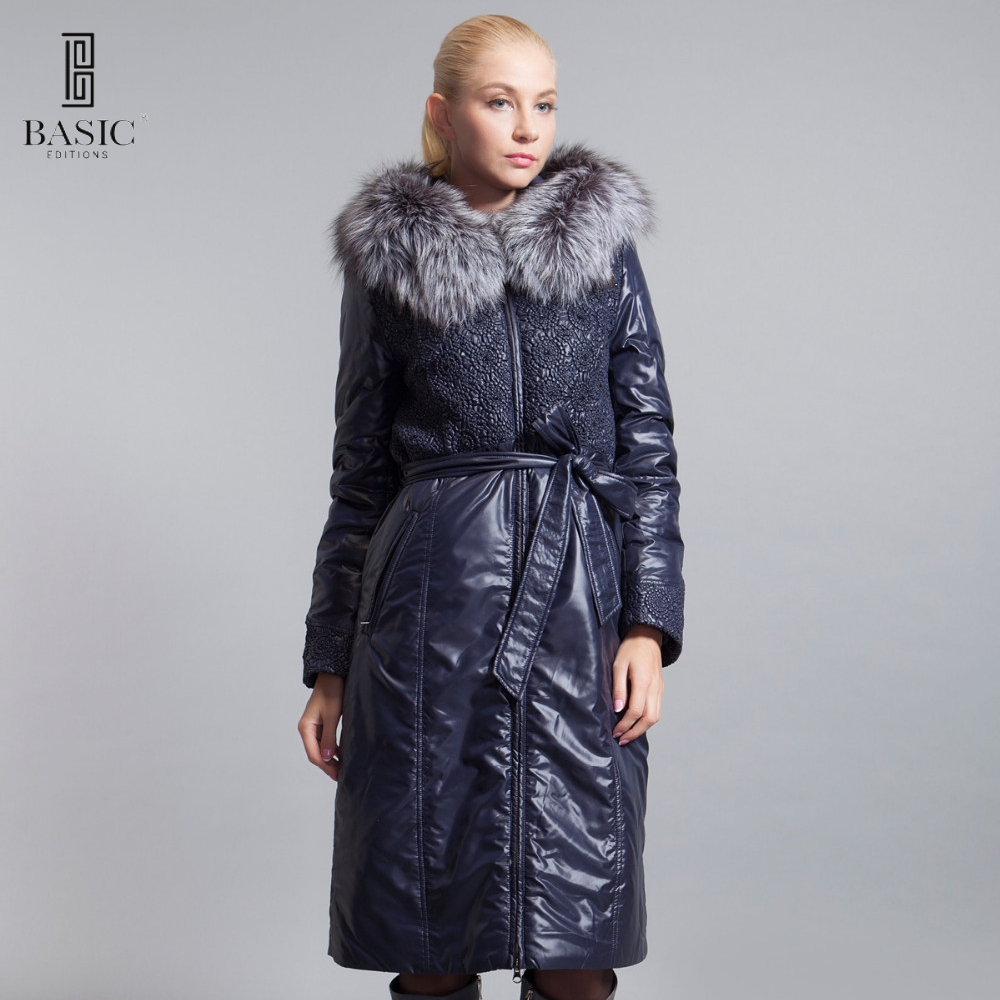 BASIC-EDITIONS New Winter Women Clothing Fox Fur Collar Slim Embroidery Female Jacket Cotton Coat 14W-08 Free Shipping 2017 winter new clothes to overcome the coat of women in the long reed rabbit hair fur fur coat fox raccoon fur collar