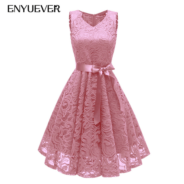 Enyuever Pink Lace Dress Women Summer Dresses Casual Vestidos Sleeveless  Robe Vintage 50s Rockabilly Elegant Evening Party Gowns 326a99a6705d