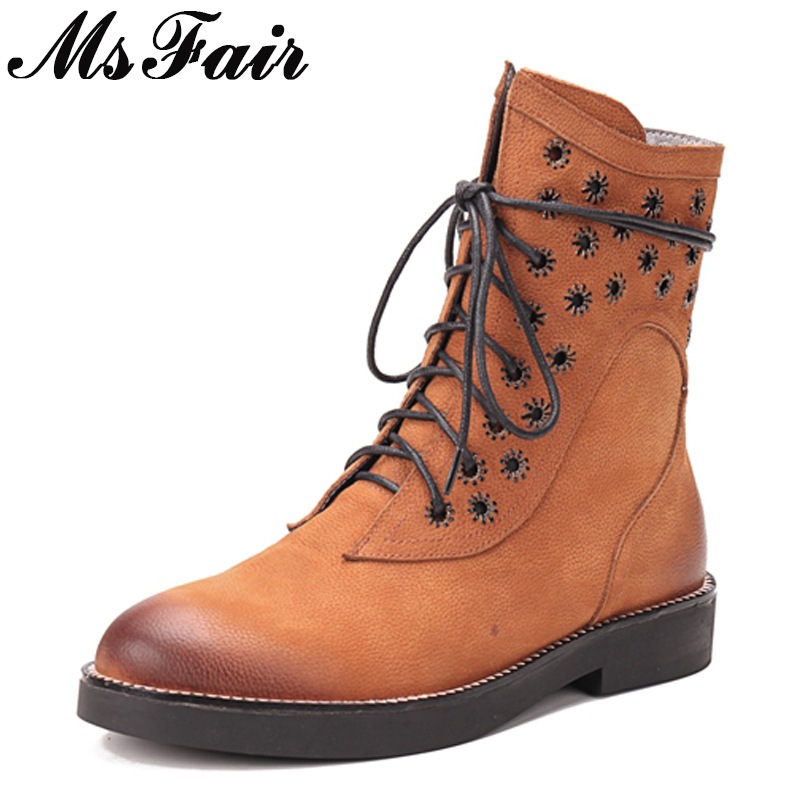 MSFAIR Round Toe Square heel Women Boots Cross-tied Zipper Med Heel Ankle Boots Women Shoes Genuine Leather Martin Boots Woman round toe flat heel zipper ankle boots
