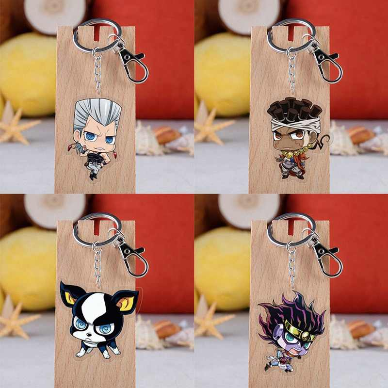 1Pcs Anime Jojos Bizarre Adventure Acrylic Keychain Transparent Pendant Backpack Key Pendant