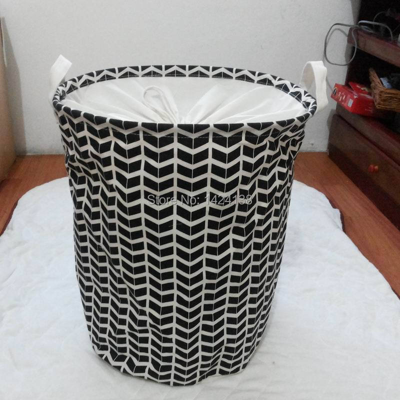 35x45cm canvas fabric storage basket black geometric pattern .white handle and bottom laundry basket-in Storage Baskets from Home u0026 Garden on ... & 35x45cm canvas fabric storage basket black geometric pattern .white ...