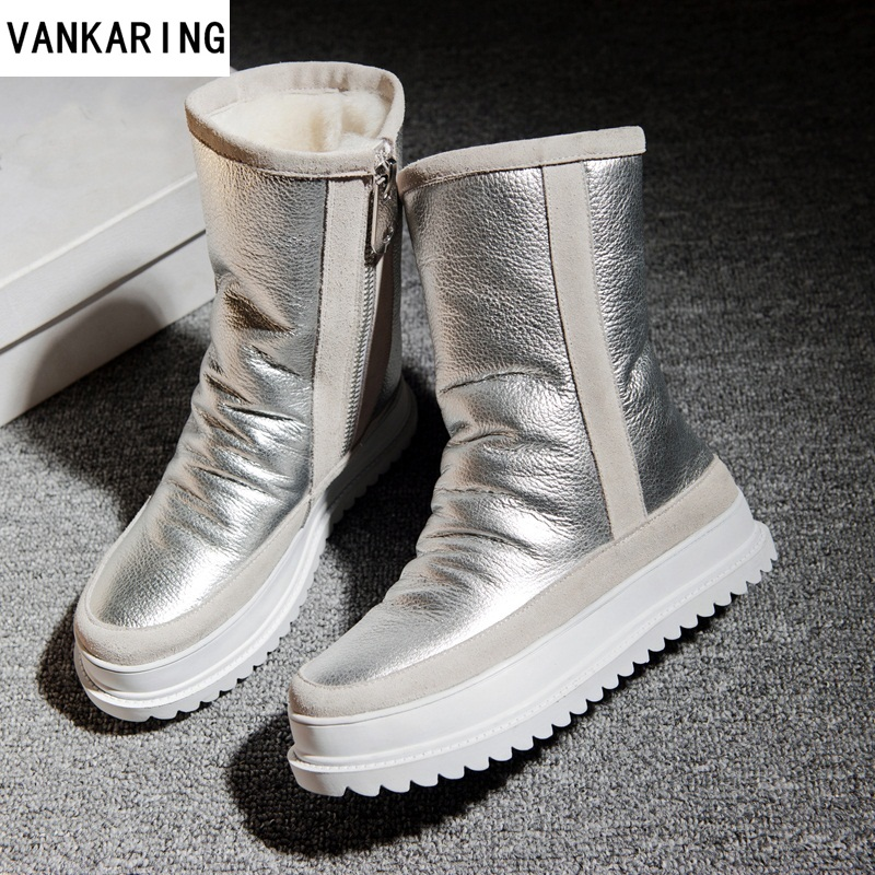 VANKARING brand winter boots leather fur warm snow ankle boots woman fashion round toe short boots platform wedge riding boots