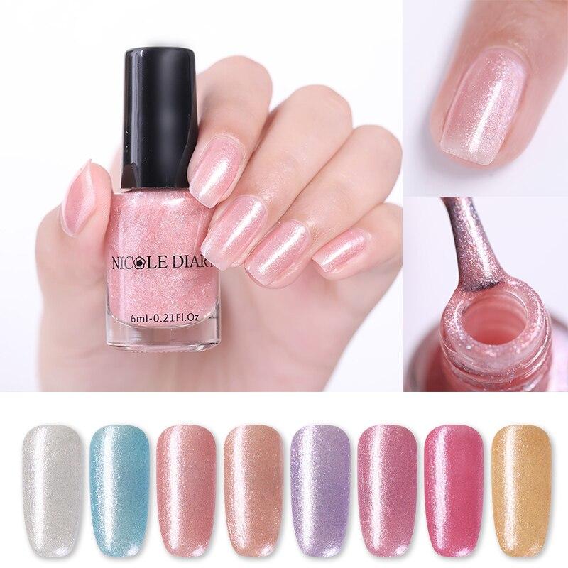 Николь дневник 6 мл блестящие жемчужные лак для ногтей яркого розового цвета; Фиолетовая для украшения ногтей Лаки естественная сушка возду...