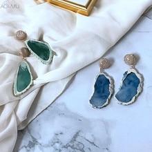 AOMU Japan Korea Vintage Geometric Irregular Pattern Resin Drop Earring for Women Girls Jewelry Pendientes Mujer Moda