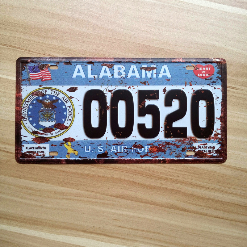 ALABAMA USA Vintage bar pub cafe shop Restaurant retro plaque tin sign metal paint Car License Plate iron wall decor 15X30CM