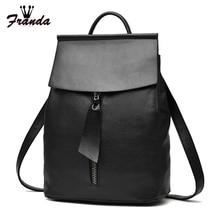 Женские кожаные рюкзак небольшой минималистский сплошной черный Школьные ранцы для подростков девочек Женский рюкзак Mochila