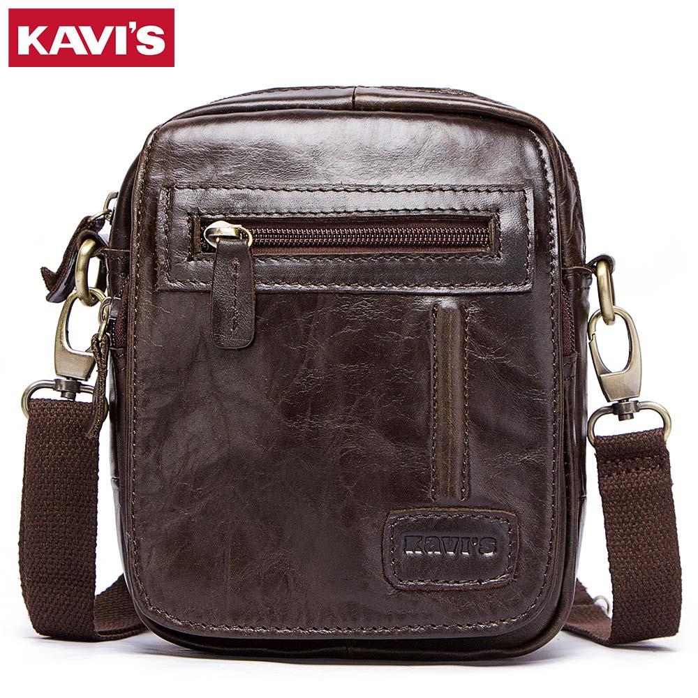 KAVIS 100% Cowhide Genuine Leather Messenger Bag Men Shoulder Bag Crossbody Handbag Bolsas Sling for Male Original Flap Pocket kavis 100