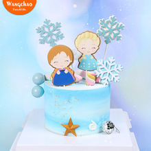 Lovely Snowflake Cake Topper Beautiful Winner Decoration New Year Christma Theme Happy Birthday Party Supplies