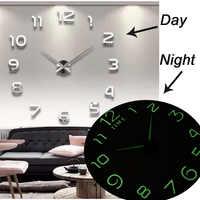 2019 New Luminous Wall Clocks Large Clock watch Horloge 3D DIY Acrylic Mirror Stickers Quartz Duvar Saat Klock Modern mute