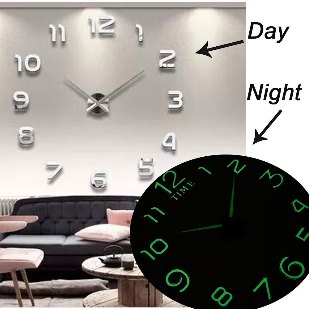 2019 nouvelles horloges murales lumineuses grande Horloge montre Horloge 3D bricolage acrylique miroir autocollants Quartz Duvar Saat Klock moderne muet