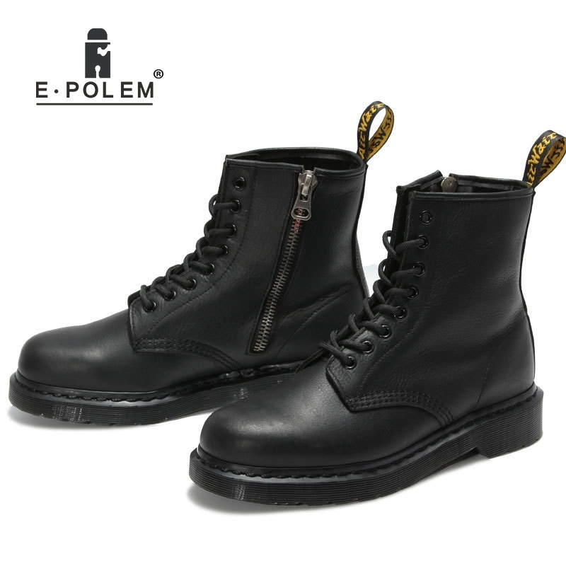 Vintage Woman Leather Martin Boots Black Unisex Genuine Leather Side Zip Ankle Boots Short Motorcycle Boot Fashion Female Shoes warm velvet martin boot female leather boots high heel genuine leather side zip ankle boots women patchwork round toe short boot