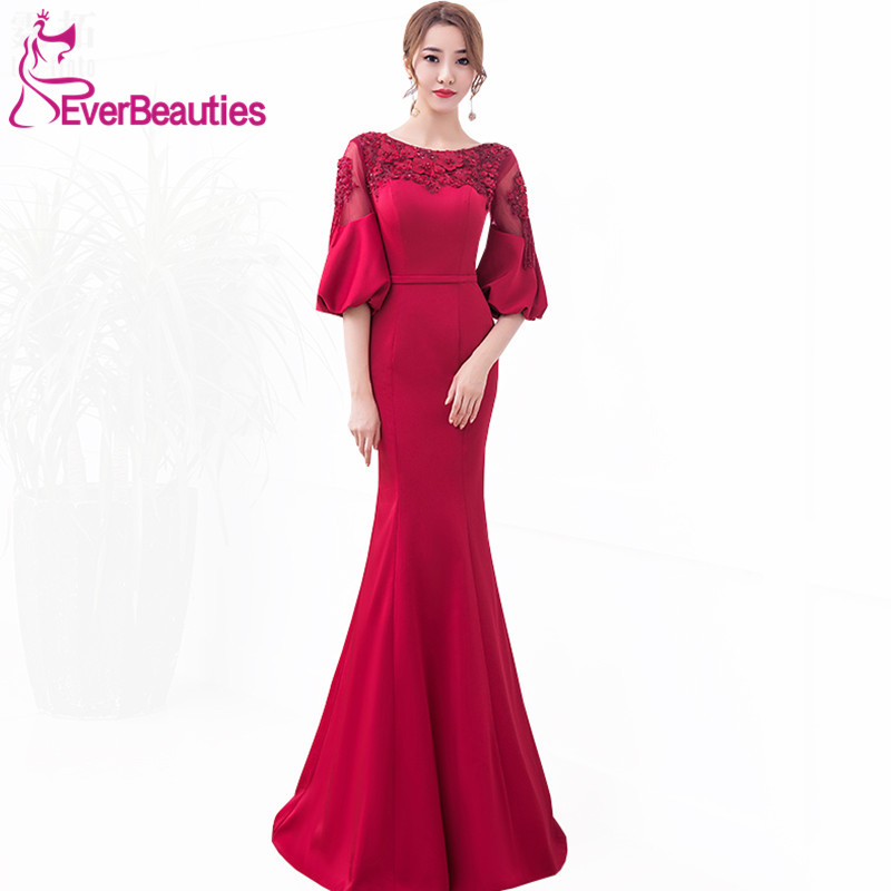 Robe De Soiree Elegant   Evening     Dress   Long 2019 Wine Red Satin with Appliques Half Sleeves Prom Party   Dresses