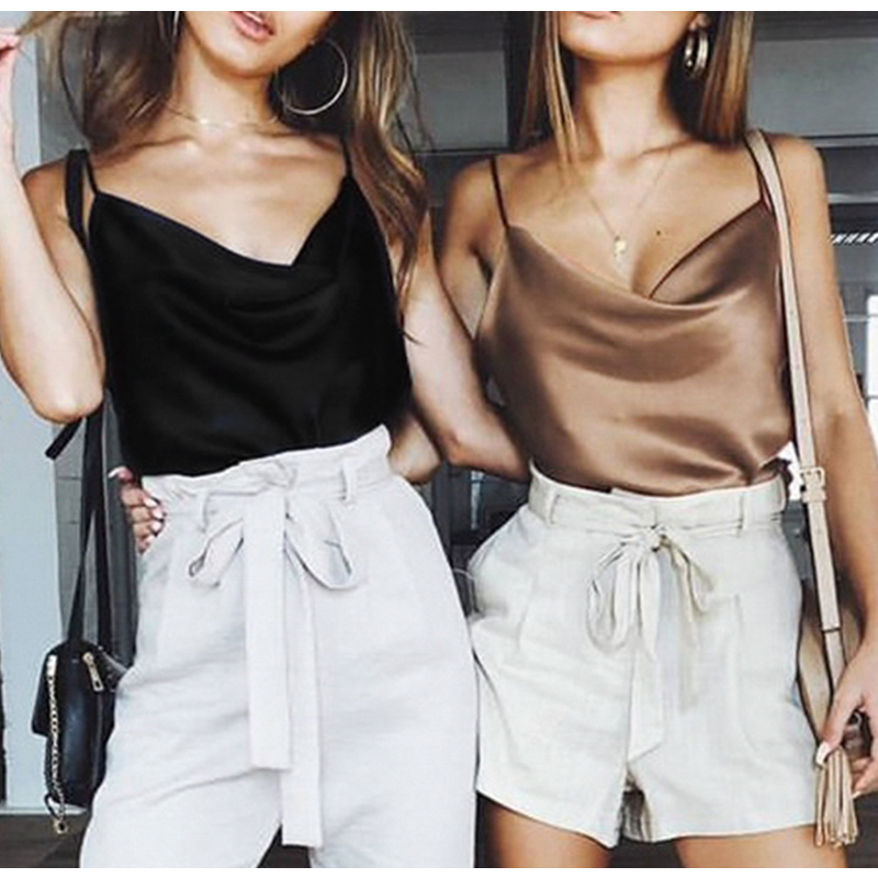 Blouse Women Tops Solid Satin Backless Sexy Camis Shirts Feminino Casual(China)