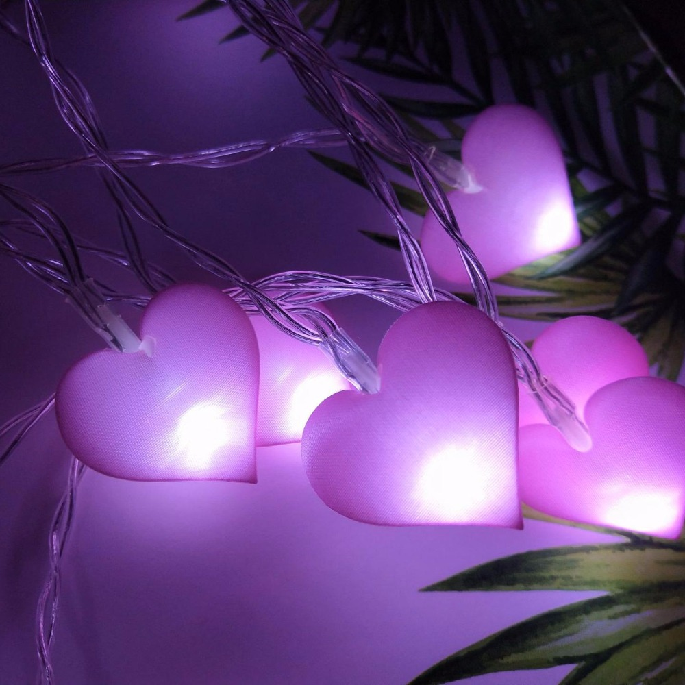 Heart Fabric LED Batterij String Lampen Holiday Lights Outdoor Indoor - Vakantie verlichting - Foto 3
