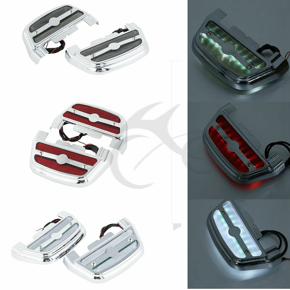 Motorcycle Clear/Red/Smoke Led Light Passenger Footboard Floorboard Cover For Harley Touring Softail Road King
