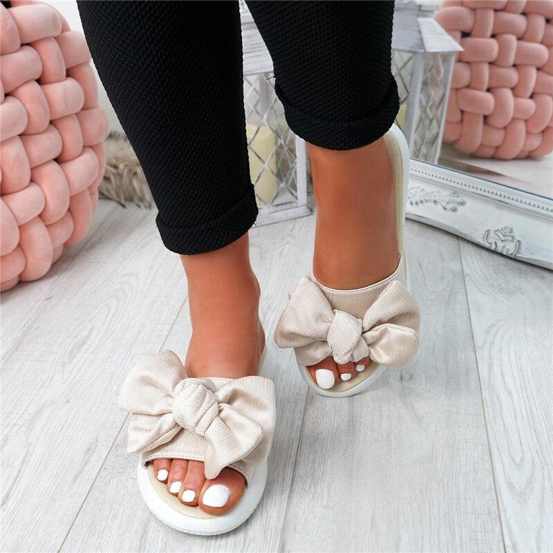 MoneRffi Slippers Women Summer Bow Summer Slipper Indoor Outdoor Linen -flops Beach Shoes Female Fashion Floral Flat Sandals