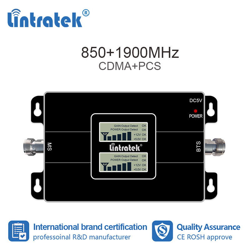 lintratek 2G 3G 850 1900 GSM 850 PCS 1900MHz Cellular Signal Booster Repeater Band 2 UMTS