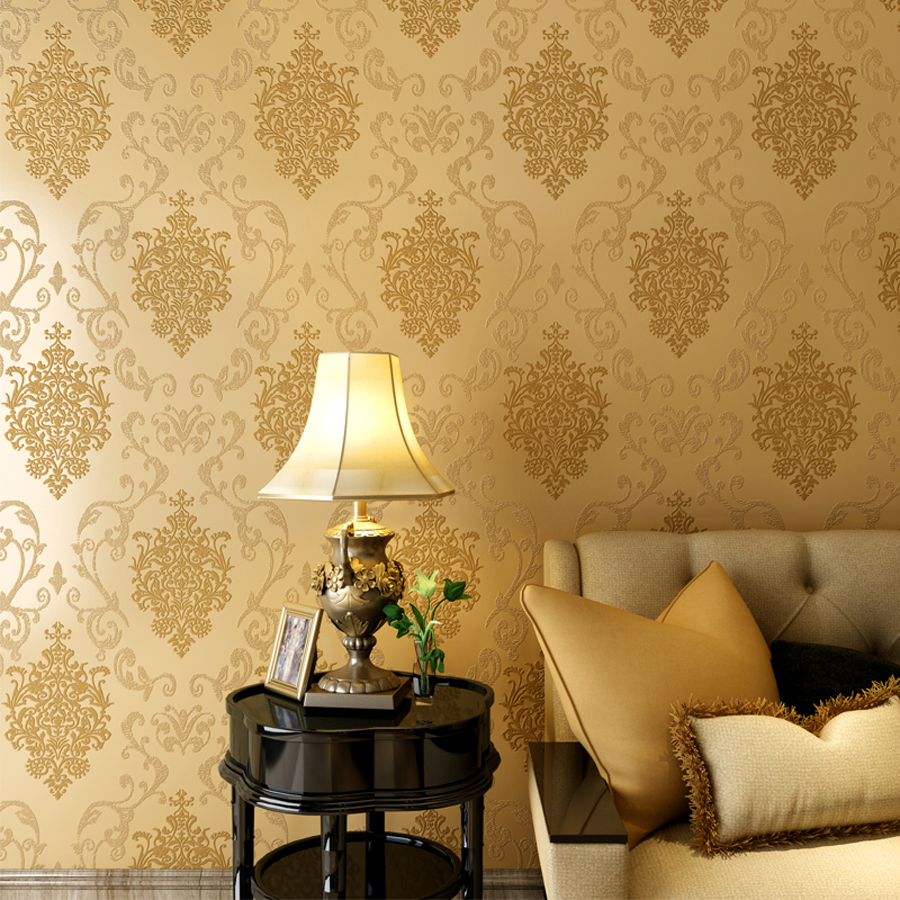2016 New Luxury Europe Damascus Wallpaper Roll 3D Stereoscopic Embossed Wallpapers  Living Room Decor Golden Wall Paper WZ008 In Wallpapers From Home ... Part 84