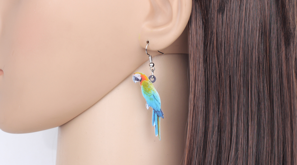 Bonsny Acrylic Flying Voilet Sabrewing Hummingbird Bird Earrings Big Long Dangle Drop Fashion Animal Jewelry For Women Girls Kid 12