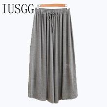 IUSGG Women Cotton Modal Wide-legged Pants Skirt Loose Leisure Plus Size Pleated Panty Full Length Skirtpants