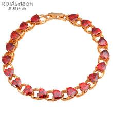 Red Crystal Prong Setting Gold Tone Garnet Bracelets AAA Zircon Health Nickel Lead free Fashion jewelry