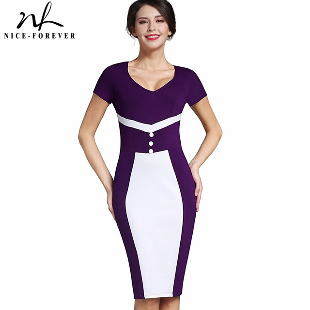 Nice-forever Vintage V-Neck Mature Elegant Patchwork Short sleeve Business  Bodycon Office Casual fba18802d
