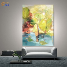 JYJ Mix Color Lotus Pic Wall Art Hand Painted Modern Abstract Oil Painting for Living Room Home Decoration Gift No Frame SL167(China)