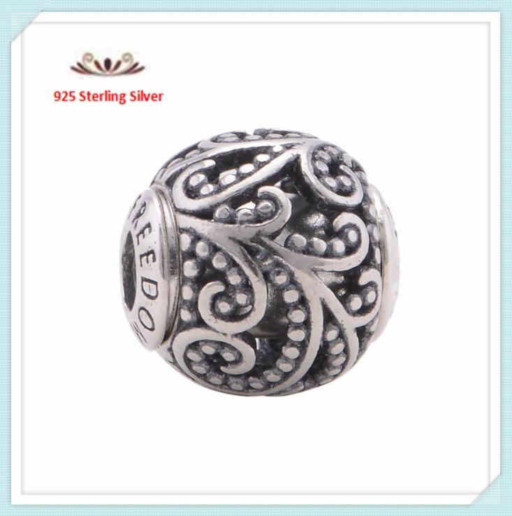 Antique 925 Sterling Silver <font><b>Freedom</b></font> Essence Beads Fits Pandora Bracelets Alphabet Small Hole <font><b>Leaf</b></font> Beads