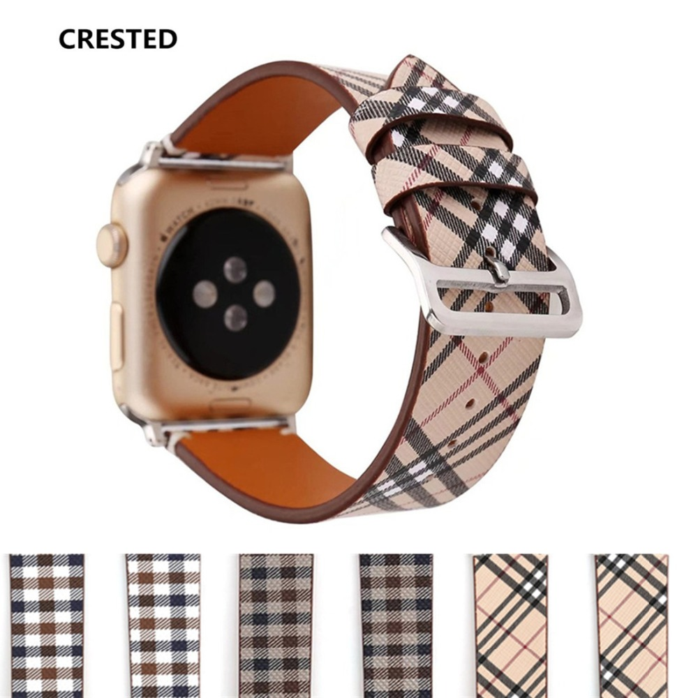 CRESTED Classic Leather For Apple Watch Band 38mm/42mm iwatch Series 3 2 1 Men's Women's Wrist Bracelet belt Watchband straps crested crazy horse strap for apple watch band 42mm 38mm iwatch series 3 2 1 leather straps wrist bands watchband bracelet belt