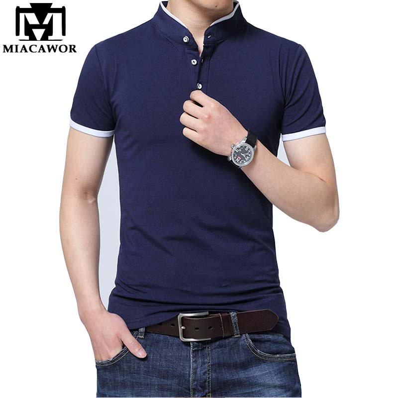 MIACAWOR New Summer Men   Polo   shirts Short sleeves Solid Homme Cotton Slim Fit Camisa Men Tops & Tees Size 5XL MT588