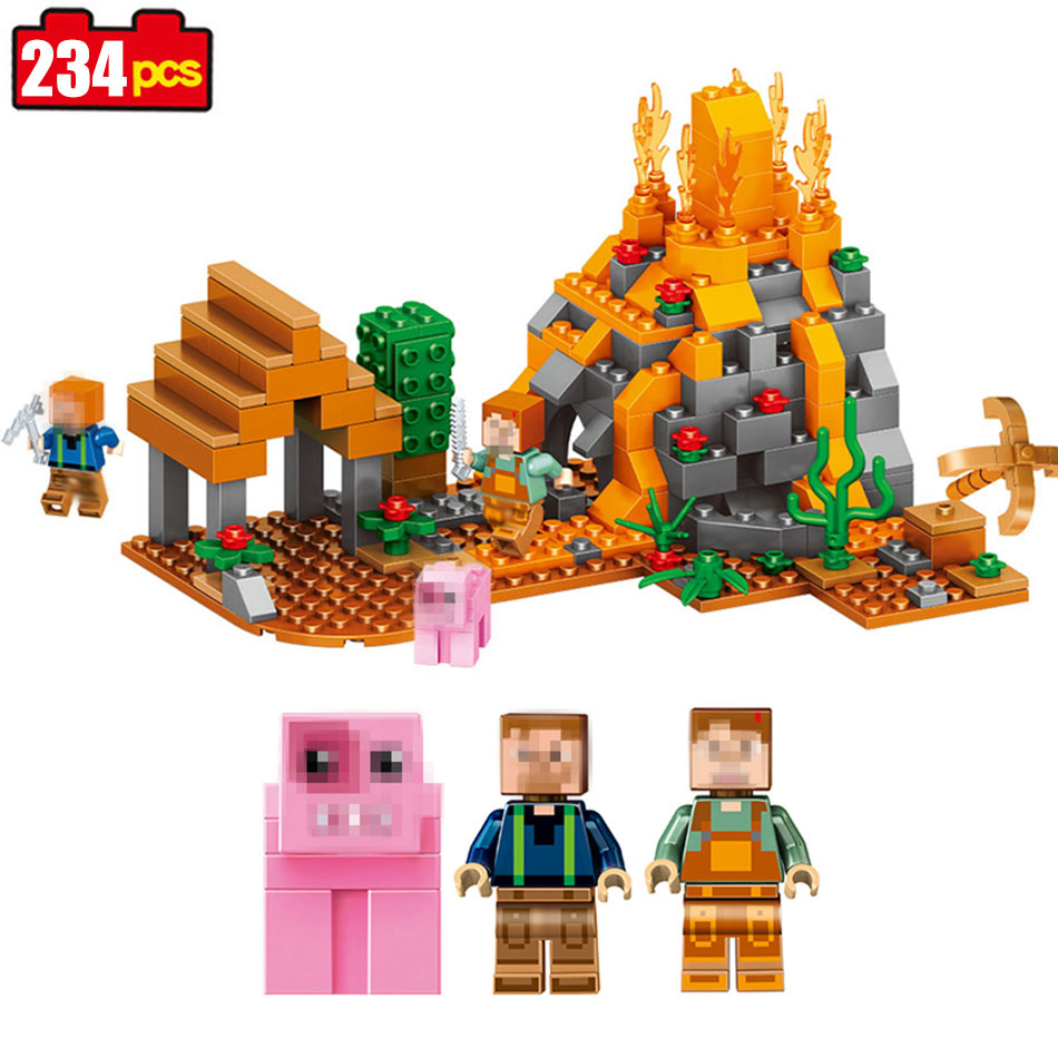 234pcs Mine world Compatible Legoed Minecrafted figures Building Blocks Bricks Set Educational toys for children 2017 toys gift 10548 elves the precious crystal mine building block set naida farran figures baby dragon toys for children compatible 41177