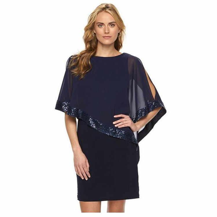 AliExpress נשים שמלת 2019 מוצק צבע שחור לראות דרך אירופה חמה אחוי נצנצים מיני שמלת Vestidos BLK8873