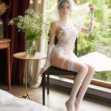f62fc8153 2019 الاباحية المثيرة الملابس الداخلية للنساء تأثيري الأبيض العروس الزفاف  اللباس موحدة مثير الملابس الداخلية إغراء
