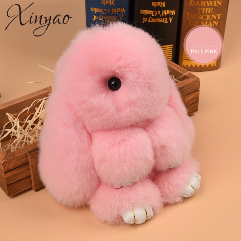 XINYAO 2017 14cm Cute Fluffy Bunny Key Chain Women Fur Pom Poms Rabbit Keychain Bag Charm Key Ring Ball Toy Doll Car Keyrings