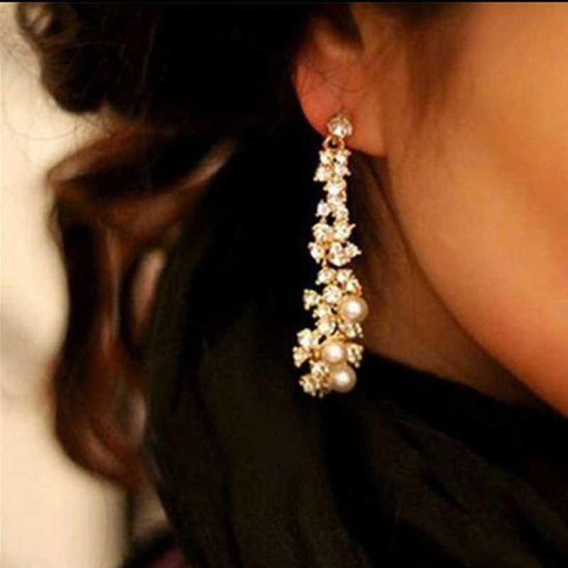 Satış Zarif Kadın Kızlar Taklit inci seti Burgu Kristal Püskül Küpe Takı