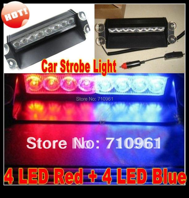 Free shipping wholesale Red Blue 8 LED High Power Strobe Flash Warning   Police Car Light Flashing Firemen Fog Lights