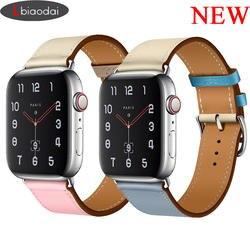 Lbiaodai ремешок для apple watch группа hermes iwatch 4 группа 42 мм 38 44 3 часы correa браслет из коровьей кожи браслет ремешок