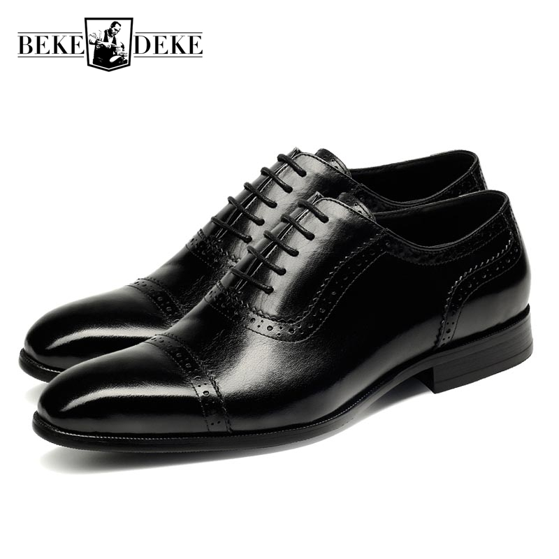 Hot Sale Mens Genuine Leather Cow Lace Up Male Formal Shoes Dress Shoes Pointed Toe Footwear Heren Schoenen Large Size Black Red 2018 new fashion british vintage lace up mens formal shoes oxfords autumn genuine leather pointed toe male footwear dress shoes