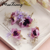 3PCS Set Beauty Artificial Flower Hair Sticks Women Hairpins Pearl Girl Hair Clips Bridal Headpiece Wedding