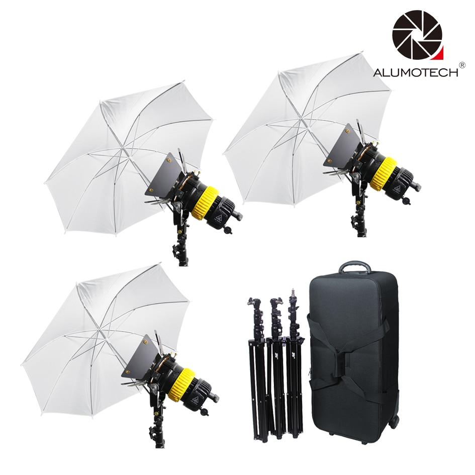 ALUMOTECH 3x80 W LED v-bloqueo Power + 3 soporte + Umbrellax3 bi-color alta CRI proyector de vídeo