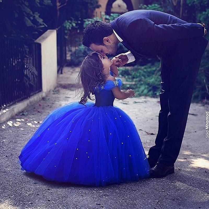 Off the Shoulder Royal Blue Bling Bling Ball Gowns   Flower     Girls     Dresses   For Wedding Little Children Kid First Communion   Dresses