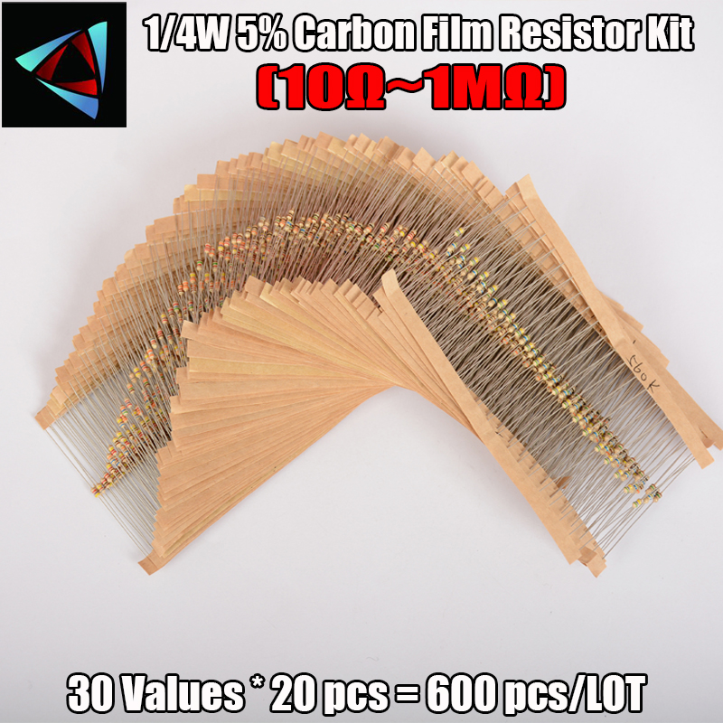 Total 600pcs 5 1 4W Carbon Film Resistor Assorted Kit 30Values 20pcs 600pcs 10 Ohm 1M