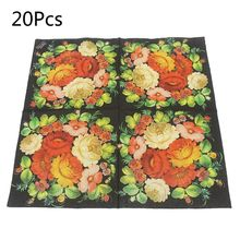 Disposable Paper Napkins Tableware Supply Printed Square Tissue Camellia Pattern Party Festive Celebration 20 Pieces