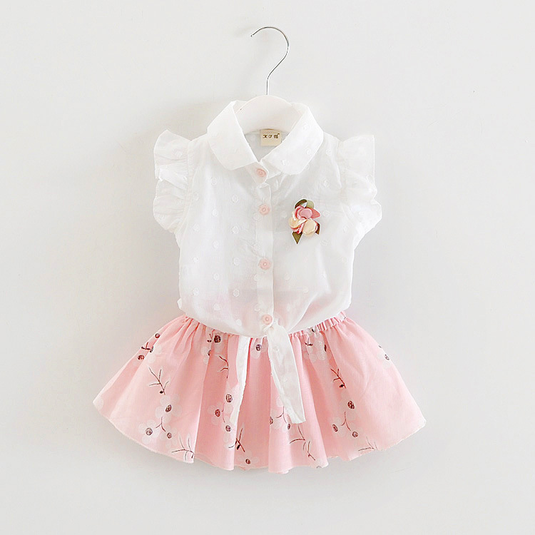 Bibicola summer baby bewborn infant girls wholesale new simple skirt + shirt 2 pieces cl ...