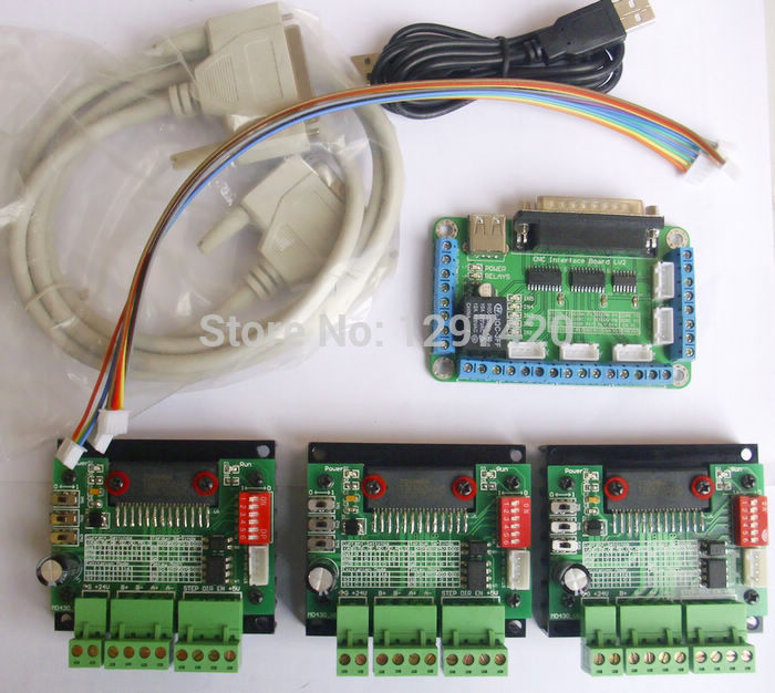 Free shipping mach3 CNC 3 Axis TB6560 Stepper Motor Driver Controller Kit,for nama17 nema23 two-phase,3A stepper motor free shipping cnc router 3 axis kit tb6560 3 axis stepper motor driver controller board for nema23 two phase 3a stepper motor