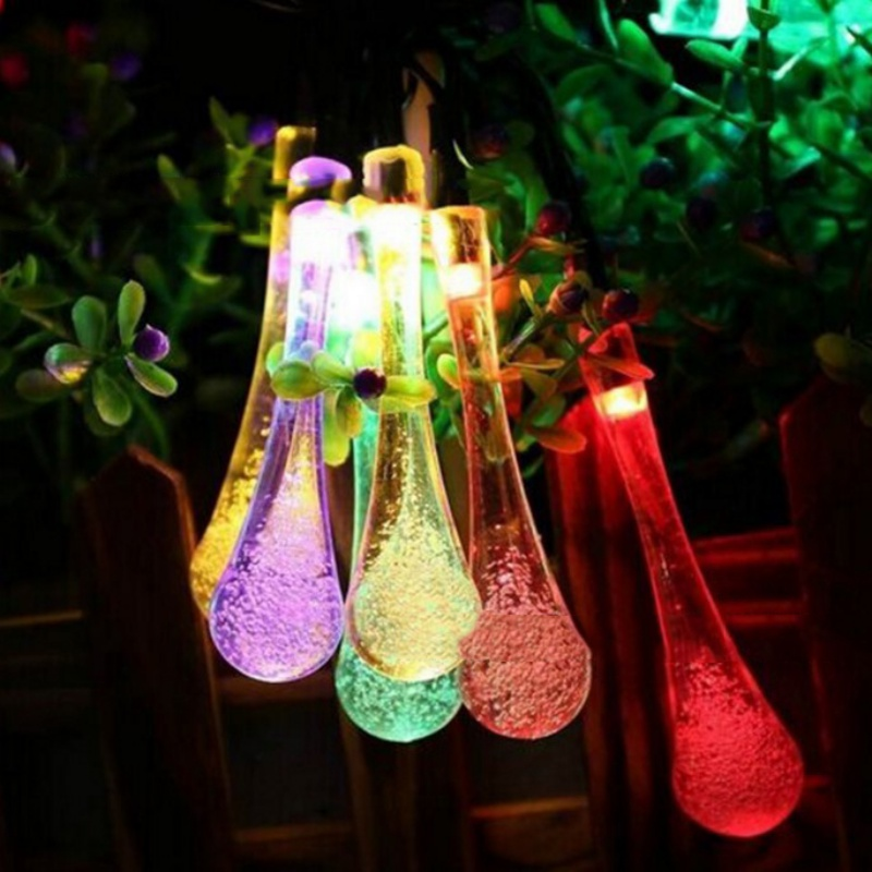 50Leds Solar Powered Water Drop String Lights LED Wateproof Fairy String Lights For Outd ...