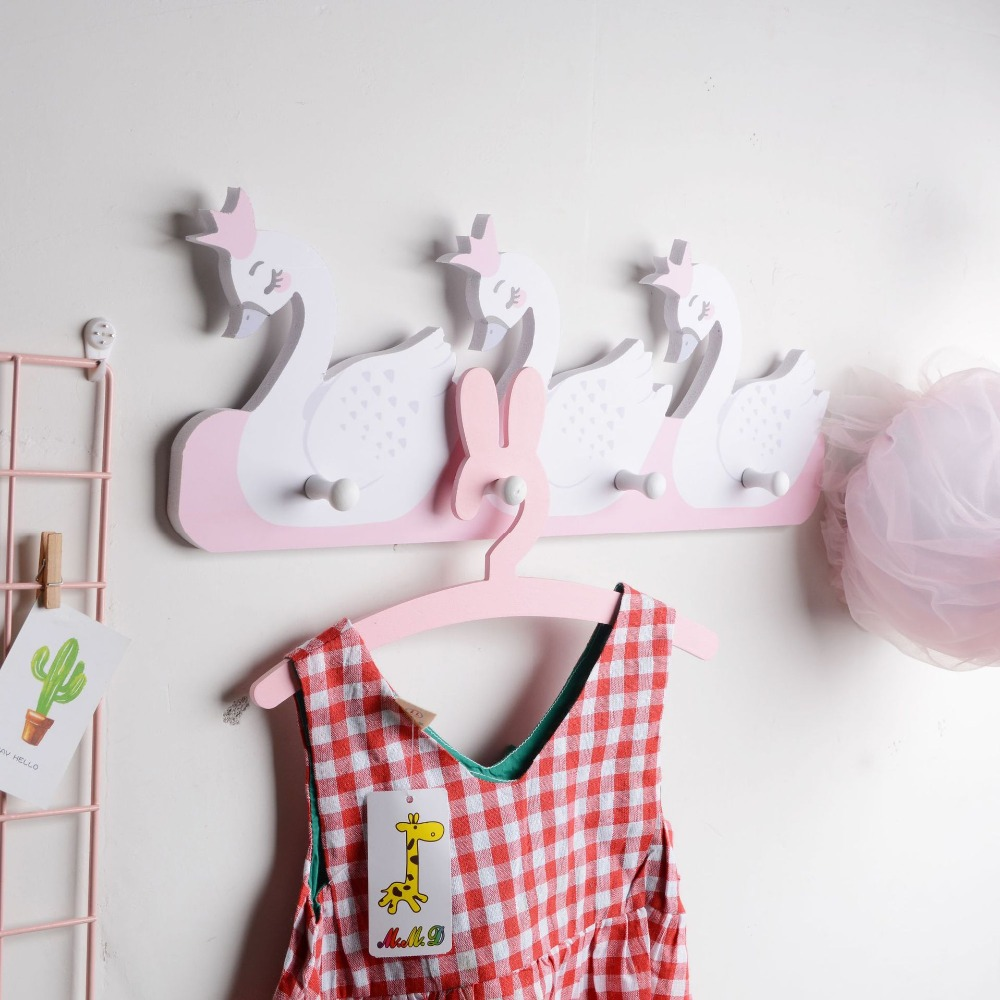 Nordic Style Wall Hooks For Kids Room Decor Fox Animal Swan Hooks Storage Decorative Hook Hangers For Baby Girl Boy Nursery Room