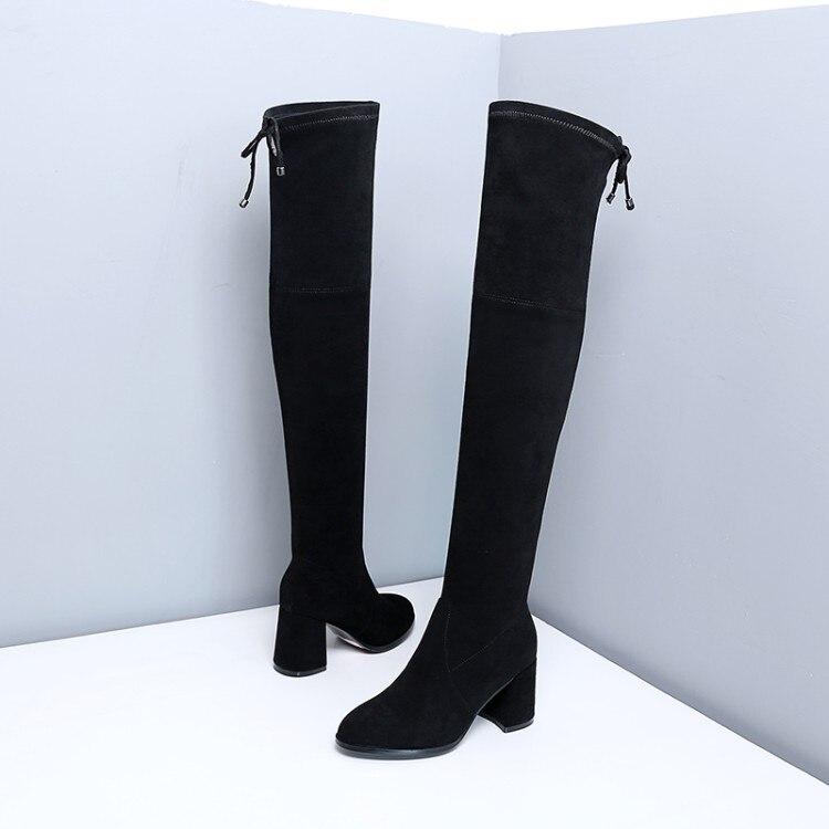 gris amarillo La Nuevo Cuero Mujer Mujeres Hasta Las Tacón Invierno Sobre 2018 Botas {zorssar} Zapatos Rebaño Alto De Rodilla Negro Ux8AIqH